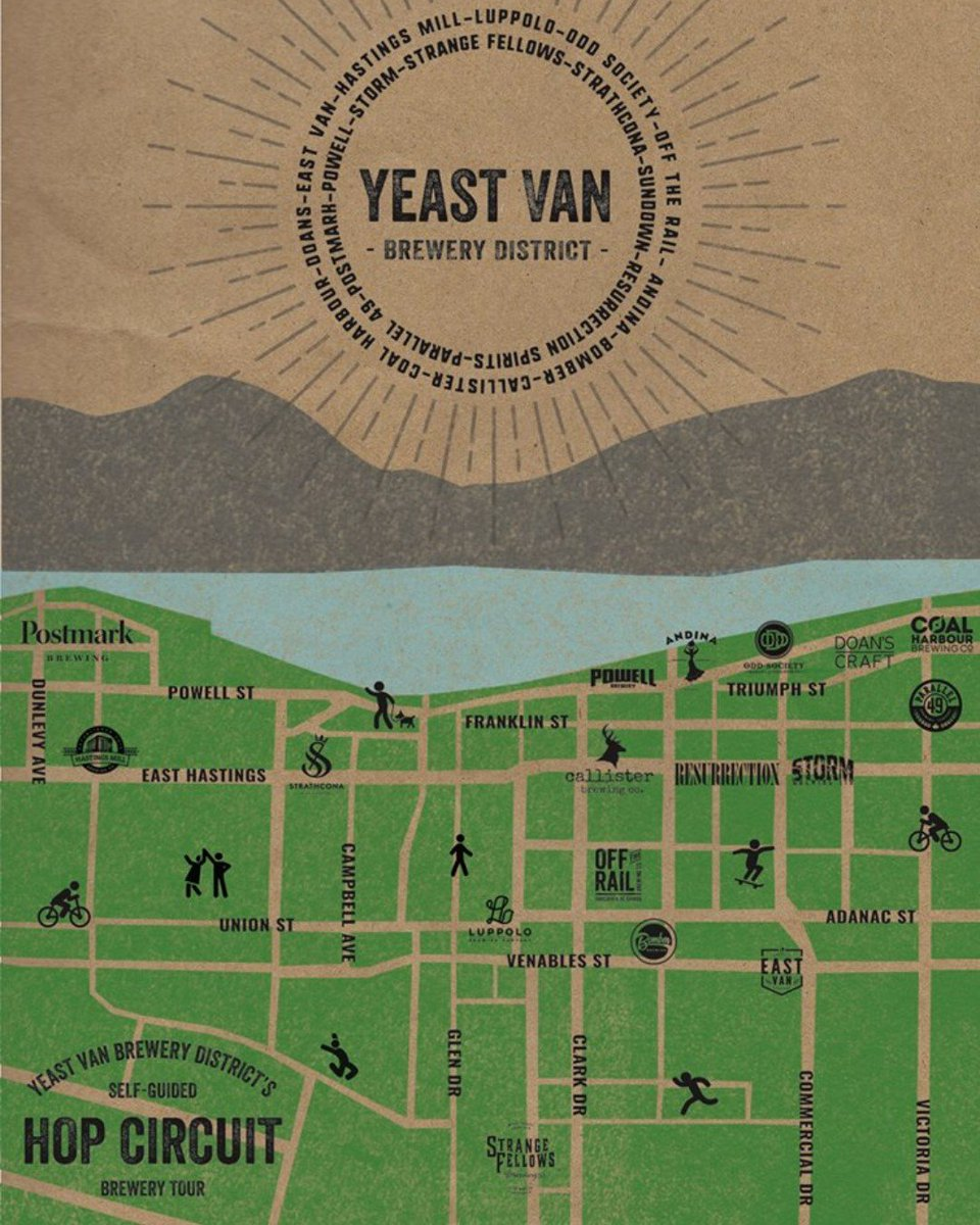 The best brewery crawl in the world (rated by http://MyLawn.Care ) and it's right in your back yard. Check out the handy Hop Circuit map from Yeast Van Brewery District and get out there   #yeastvan #craftbeer #drinklocal #beerlover  #eastvan #mylawncare #getoutside #Vancity