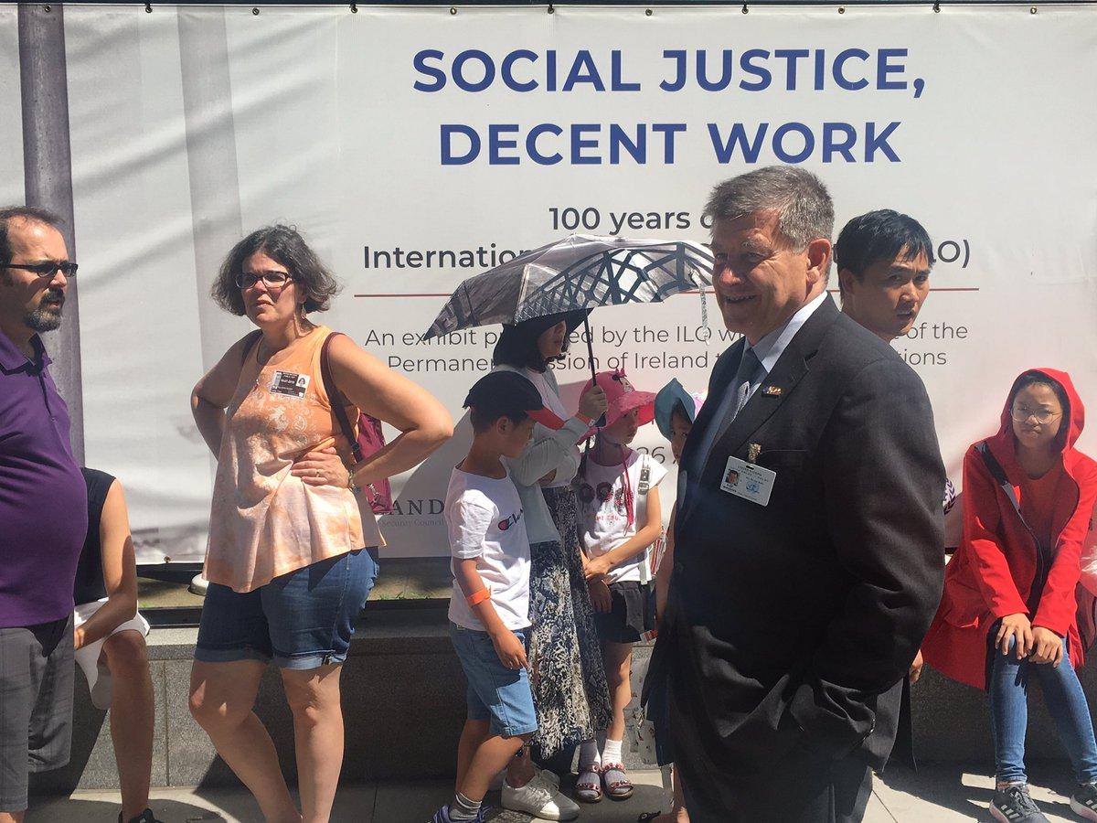 Big line to visit the #ILO100 Exhibit at the #UnitedNations but definitely worth it! #HLPF2019 #SDG8 #myFutureofWork