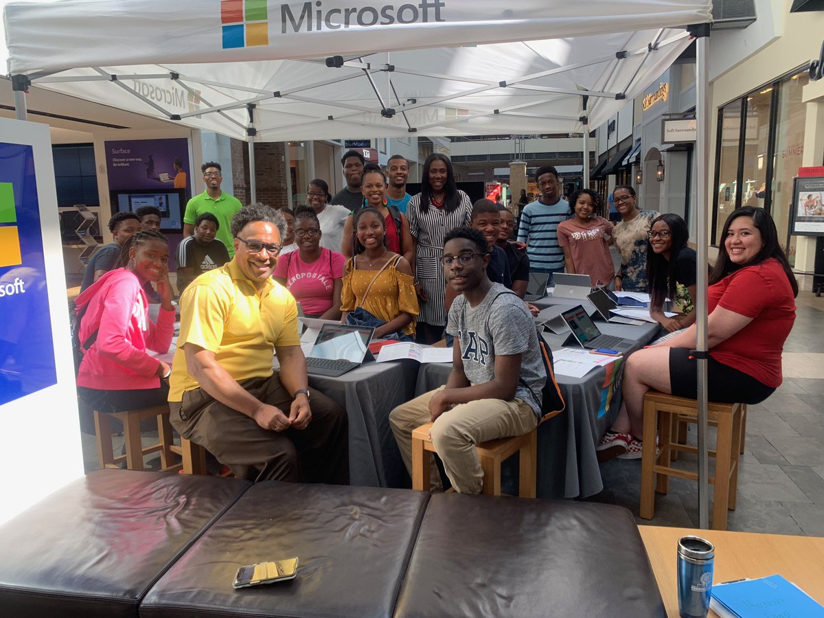 #Wow! We've partnered with the #1 tech company in the world, @Microsoft! @RPCoalition VP Rev. Dr. @styeary Super Volunteer, Consultant & Engineer, @hcrawleyaustin kick off the #RPCPUSHSummerTech camp in Durham, North Carolina at the @Microsoft store.