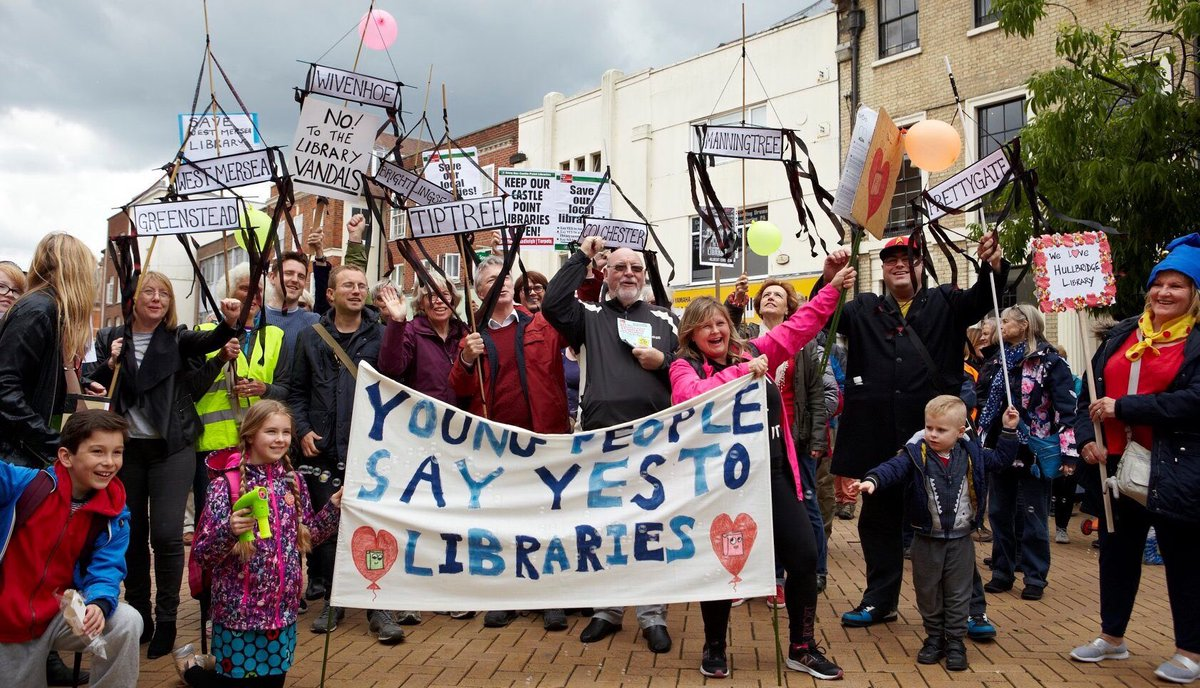 I remember the @essex_CC rep saying they'd consider anyone to run a library ... I said, 'Tesco even?' and she said, 'Oh yes.' I don't want #Wivenhoe library in an office, school, village hall, church or a supermarket thanks. Not a traffic island, nor a tent. No! #saveourlibraries <br>http://pic.twitter.com/j6T3OAN5XN