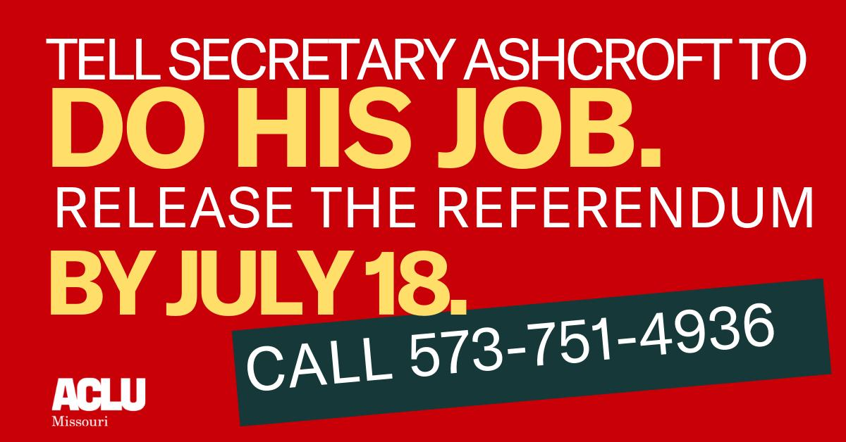 Sec. of State @JayAshcroftMO is wasting the people's time. Tell him to approve the #HB126 referendum now: 573-751-4936  Why does he get more time to draft a few sentences of ballot language than the people get to collect 100,000+ signatures? #YourMOYourChoice #StopTheBans #MoLeg