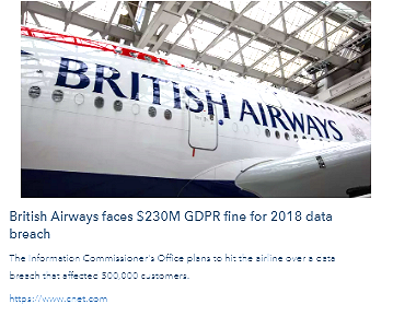 #ThirdPartyRisk - British Airways Faces $230M #GDPR Fine for 2018 #DataBreach https://cnet.co/32rOEu7  Solutions: http://bit.ly/32uzNPp   . #infosec #pii #datasec #cyberrisk #cybersecurity #tprm #vendorrisk #cio #ciso #cso #compliance #regulation #dataprivacy #ndb #dataprotection