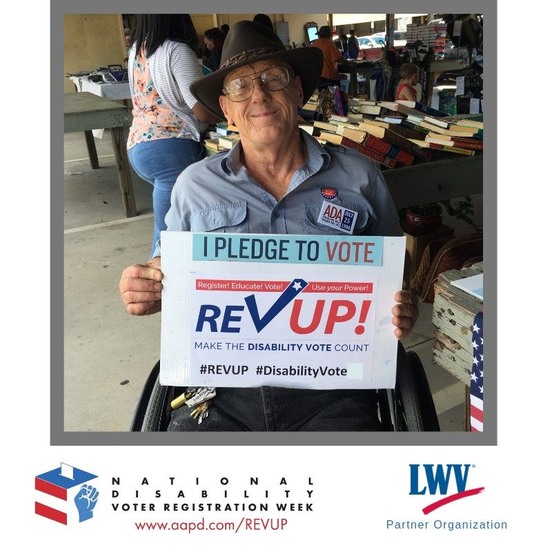 Full political participation for Americans with disabilities is a right. AADP's REV UP Texas Week is meant to encourage voter participation for Texans with Diabilities. Visit their Facebook Page for more information: https://buff.ly/2xFJNYf