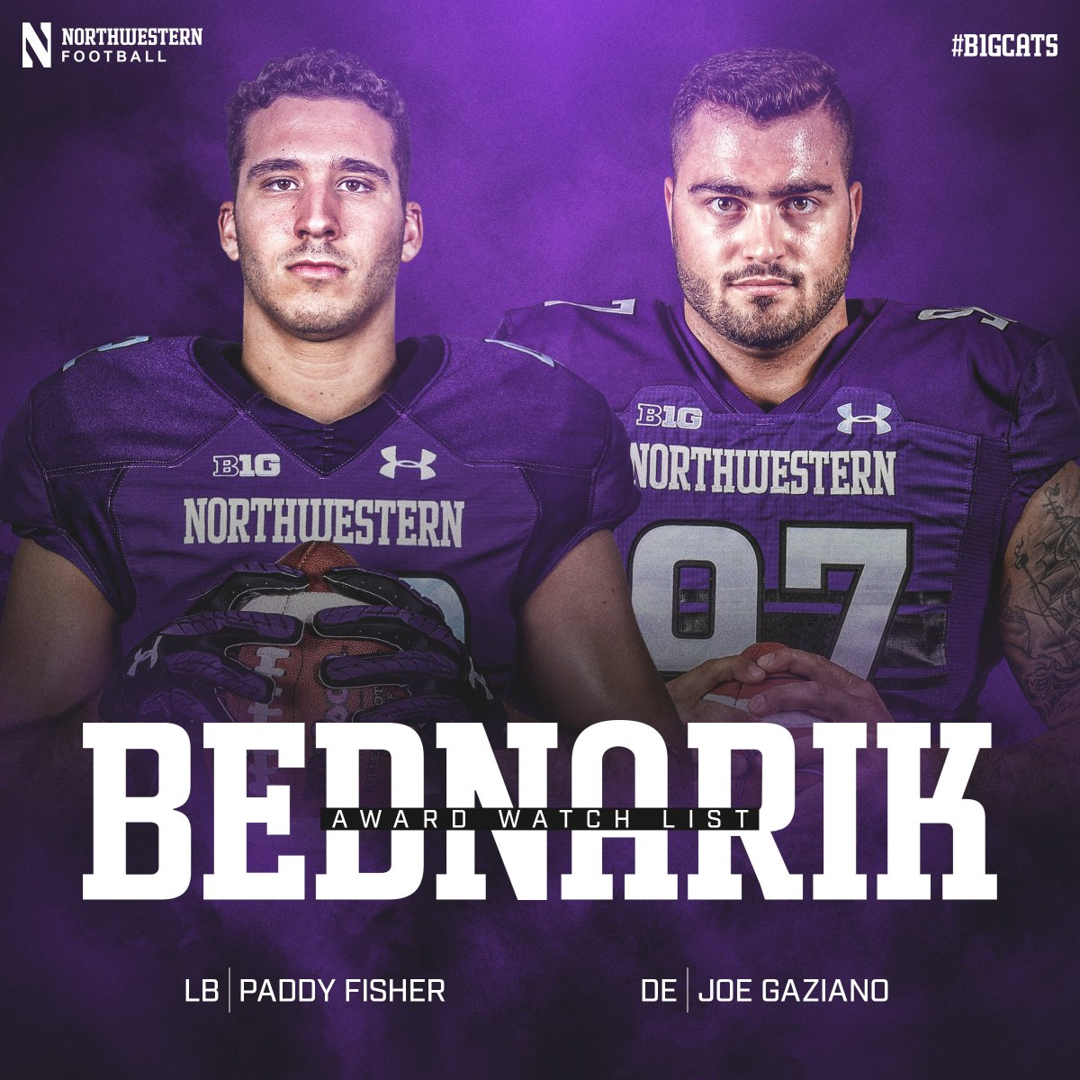 Watch List Szn. 👀 @FisherPaddy and @jgaziano97 have been named to the @BednarikAward Watch List. #GoCats