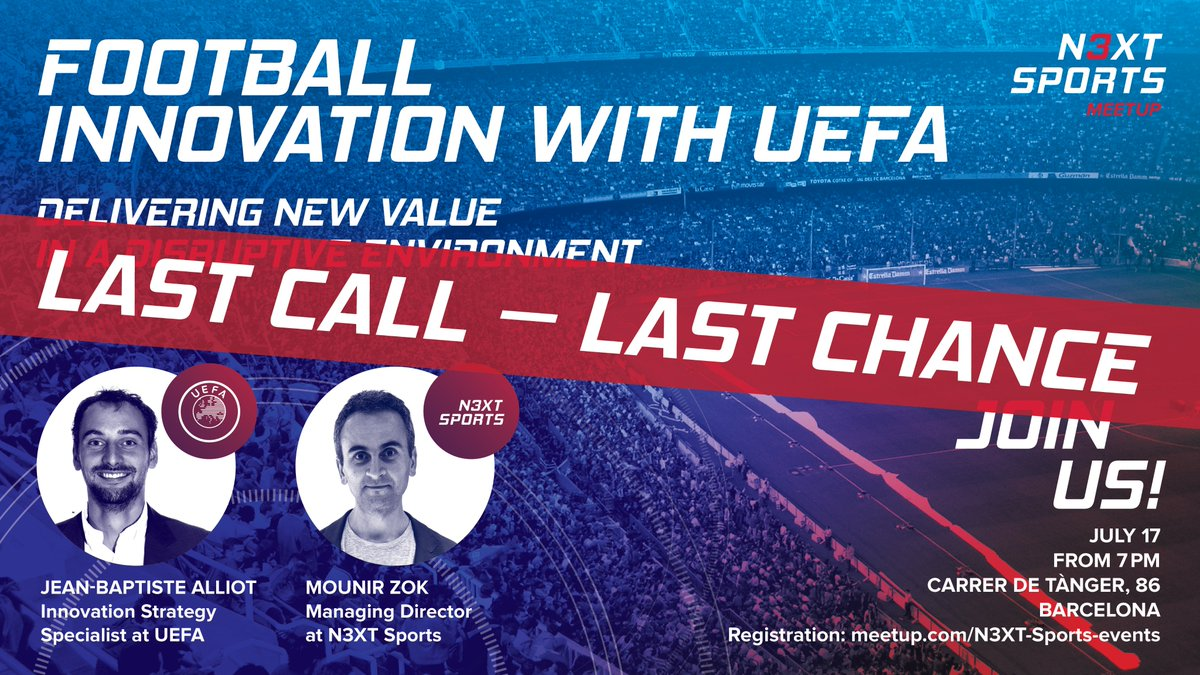 ⏰ Tik-tok, tik-tok! ⏰ Time is running out, but you still have 48 hours to sign up to our next meetup: Football Innovation with UEFA as a special guest. 🕑Wednesday, July 17 from 7 PM 📍Carrer de Tànger, 86, Barcelona Sign up here 👉 meetup.com/N3XT-Sports-ev…