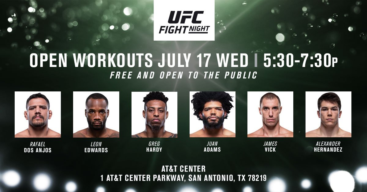 Hurry up!  Open Workouts start now at the AT&T Center! #UFCSanAntonio