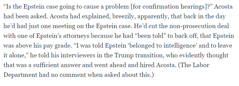 Alex Acosta, original story appears to be:https://www.thedailybeast.com/jeffrey-epsteins-sick-story-played-out-for-years-in-plain-sight …