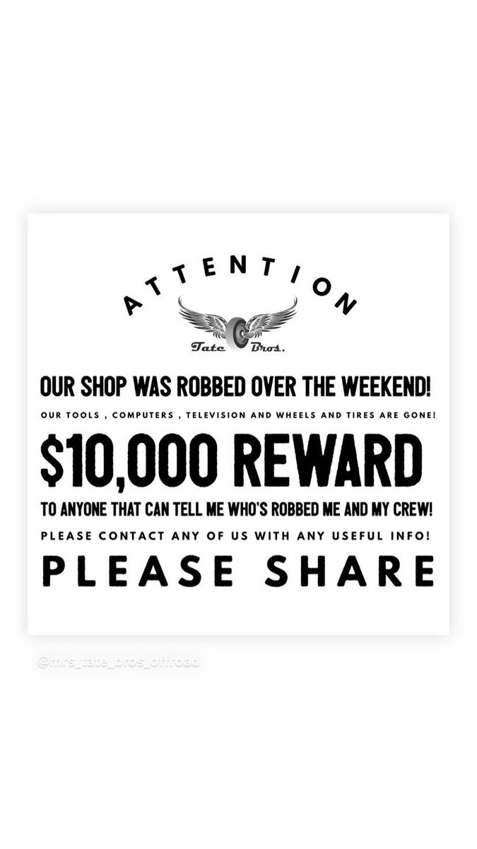 Our shop was robbed over the weekend! $10,000 REWARD to whoever tells me who robbed us!<br>http://pic.twitter.com/2cUDqB7CIQ