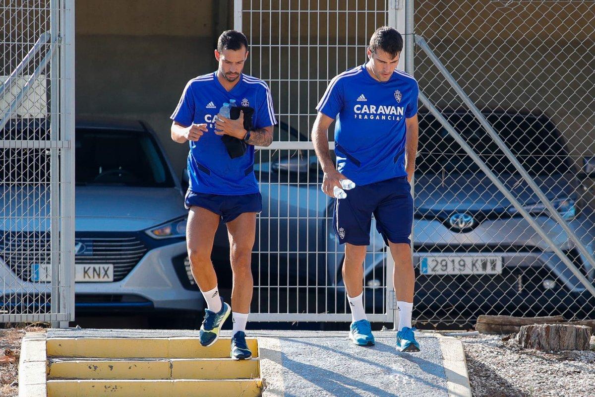 Guitián y Zapater, este lunes en la Ciudad Deportiva (Foto: Daniel Marzo).
