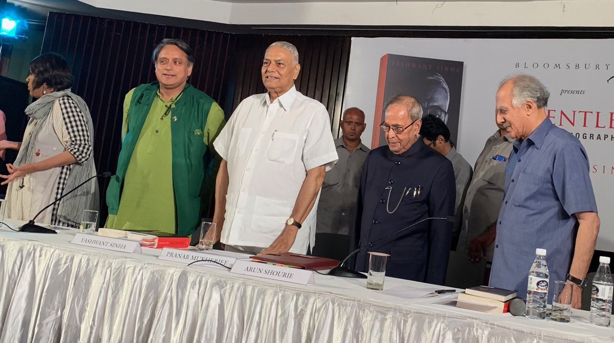 When the recording of the national anthem failed to play at the end of @YashwantSinha Ji's book event, I suggested we simply sing Jana Gana Mana ourselves, & the whole audience joined in. It was a powerful & moving moment. <br>http://pic.twitter.com/v1eYl71O7b