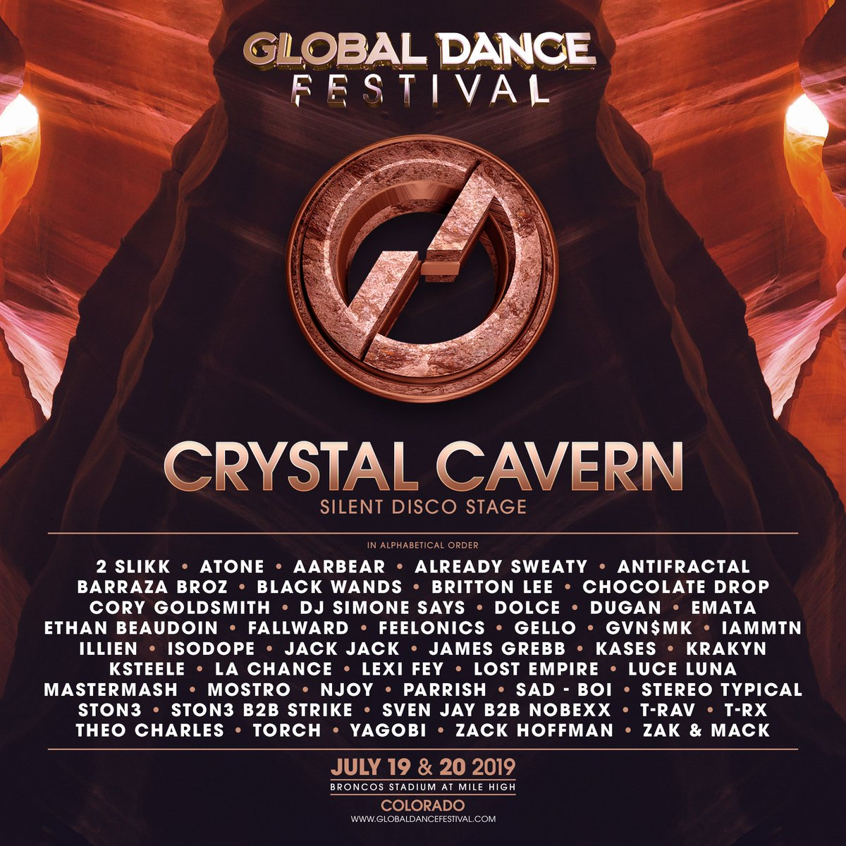 The Global Dance Festival Crystal Cavern lineup for 2019