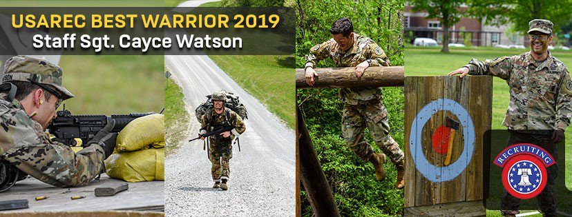 The #USAREC 2019 Best Warrior, SSG Cayce Watson, @ArmyPortland, @6thBrigade will be competing at the @TRADOC Best Warrior Competition at @FortRucker_AL this week. Wish him luck! #WarriorsWanted #BWC2019<br>http://pic.twitter.com/8QQsiK2RLa