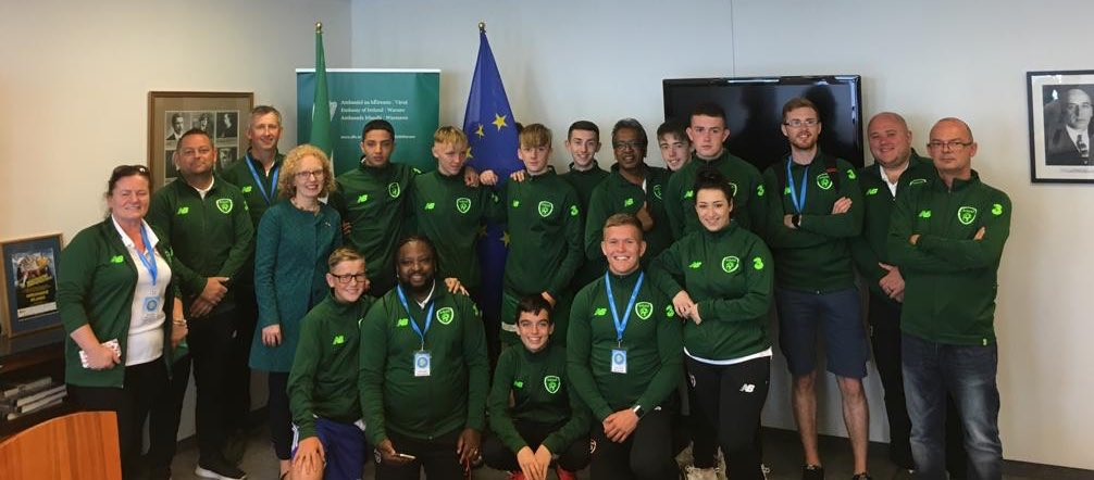 Fantastic to welcome the Irish soccer ⚽️ team to the Embassy after they represented 🇮🇪 so well at the World 🌍 Soccer Championships @LegiaWarszawaPL. True ambassadors for Irish sport! It was an honour to celebrate with you yesterday - Maith sibh 👏 @tusla
