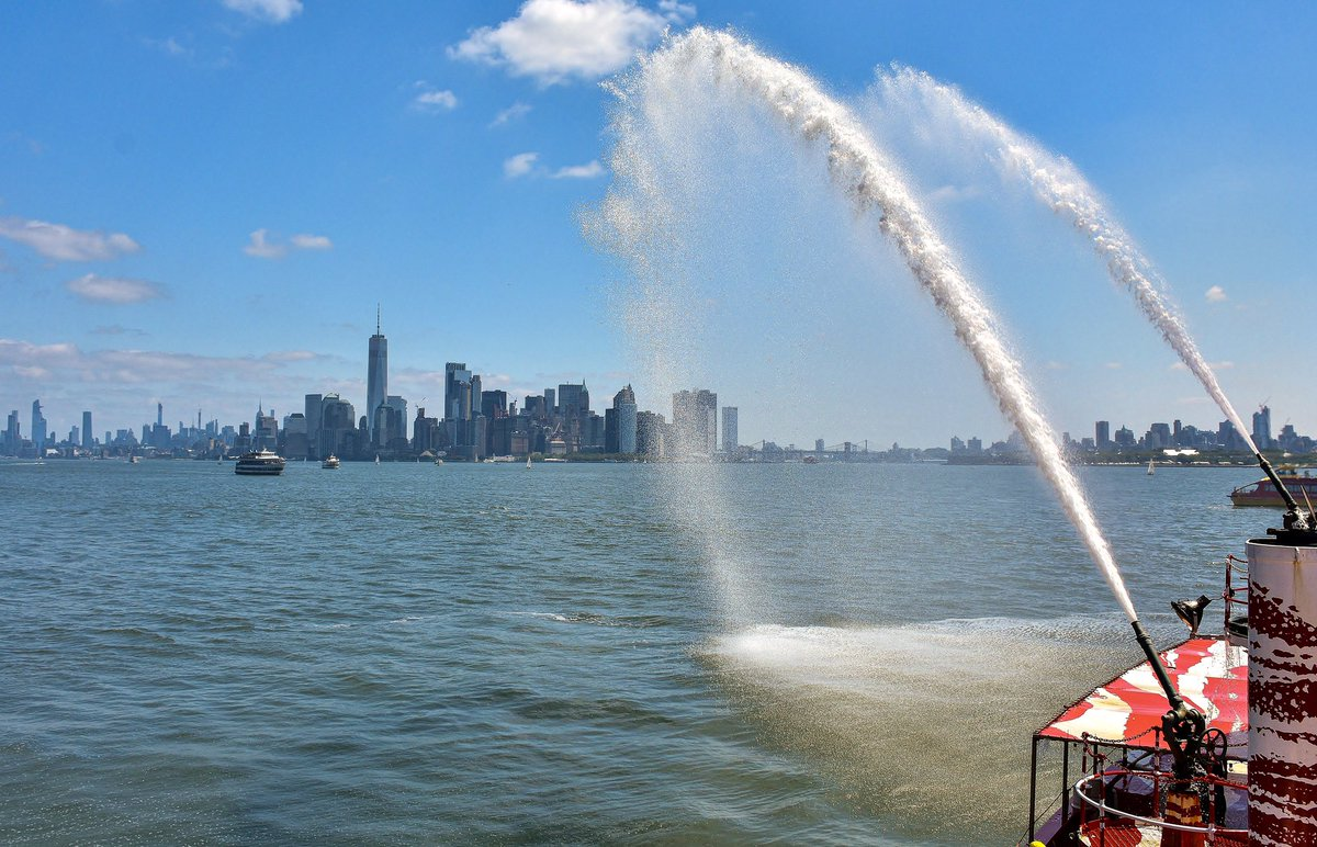 The fire boat John J Harvey pumping water at #NewYorkCity and @TheSeaport last Saturday, in celebration of #CityofWaterDay.https://instagram.com/p/Bz8oE2_ANvF/ .