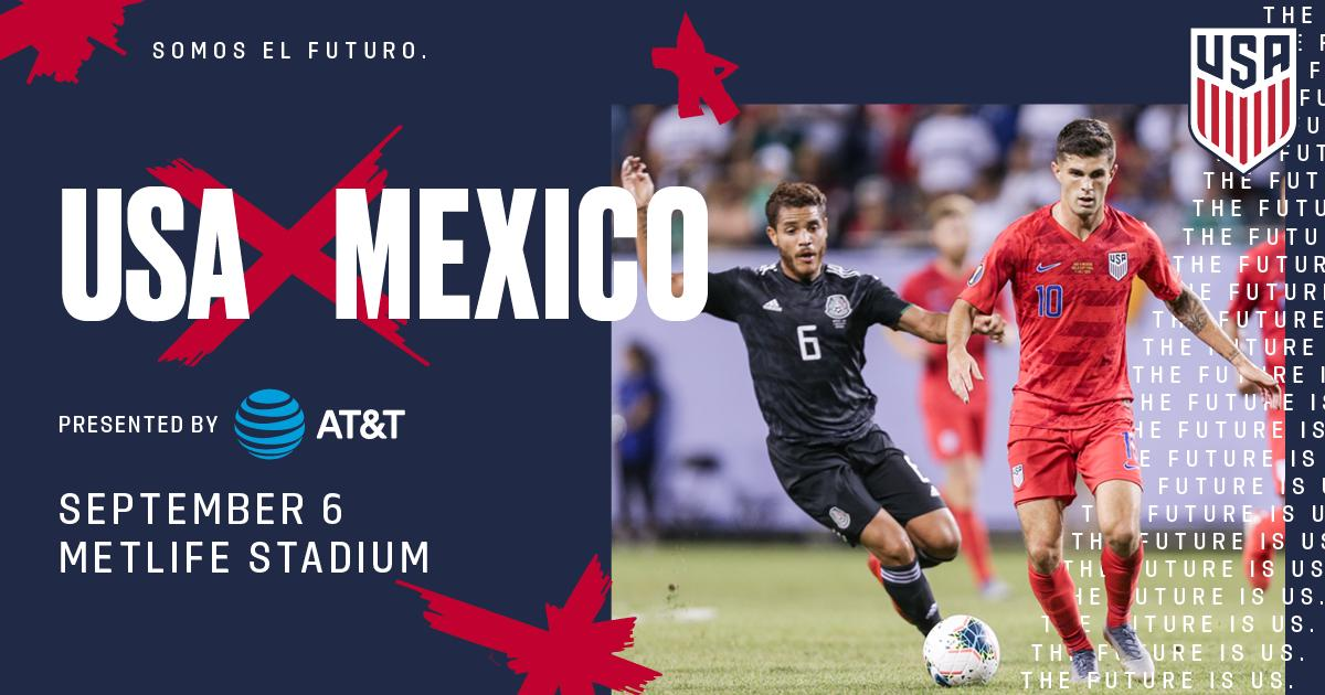 🇺🇸 𝑹𝑬𝑴𝑨𝑻𝑪𝑯 🇲🇽   On September 6th, the region's biggest rivals will clash! Join us in The Big Apple for 🇺🇸 vs. 🇲🇽,  presented by @ATT!   🏟 MetLife Stadium ⏰ Sept. 6, 8:30pm ET  📺 @FS1, @Univision  & UDN 📝https://ussoc.cr/MNTMEX