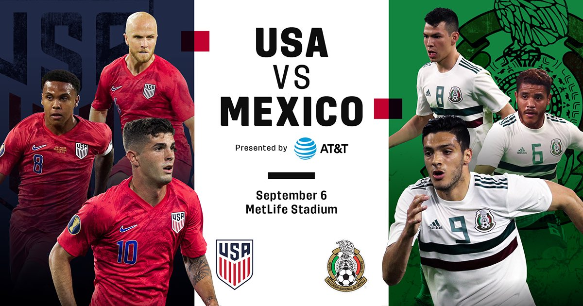 🇺🇸 vs 🇲🇽   The rivalry continues when Concacaf titans, @USMNT & @miseleccionmxEN meet at MetLife Stadium on September 6.   Tickets on sale Friday, July 19 at 10am ET 🎟 http://bit.ly/2XJ89jh