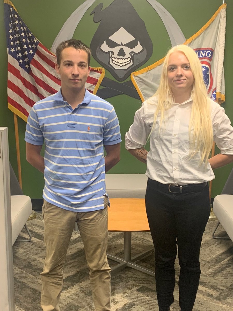 Big Congrats to #Pensacola 's newest future soldiers. PVT Kite on the left, enlisted as 19K (M1 Armor Crewman) and PVT Harris on the right enlisted as a 12MFirefighter). I am so proud of these two. Welcome to the Army Team #warriorswanted #inourboots<br>http://pic.twitter.com/E6HVqzPNwB