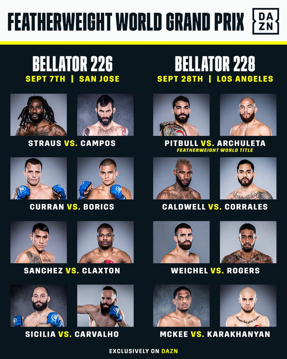 The 16-man @BellatorMMA Featherweight World Grand Prix is Official!!! 🏆  Who you got❓
