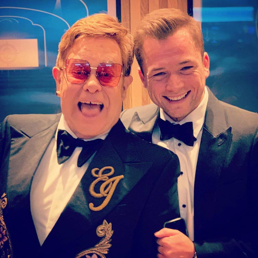 Look who I bumped into last night at #TheLionKing premiere! @TaronEgerton #Rocketman Elton xo