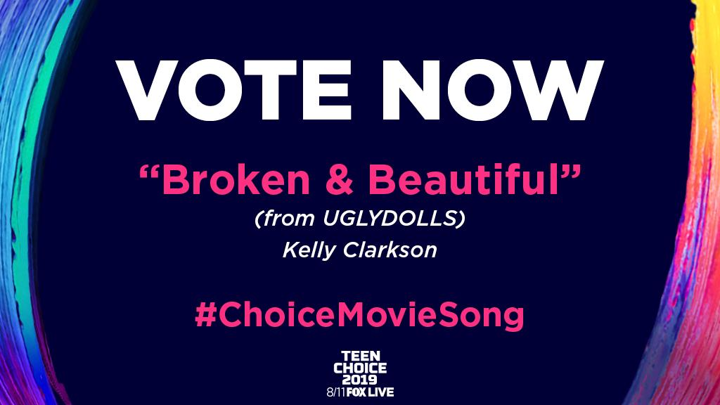 "✨LAST DAY ✨ to vote ""Broken & Beautiful"" (from @uglydolls) for @teenchoicefox #ChoiceMovieSong! Vote at fox.tv/TCA19 and Twitter (10 votes per category, per day, per platform user ID). -Team KC #TeenChoice"