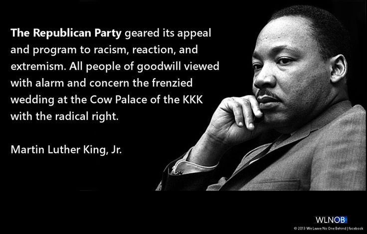 MLK and Jackie Robinson called it on July 16, 1964 when the GOP nominated Barry Goldwater (just 2 months after her voted against th Civil Rights Act). The Black vote went from 33% for Nixon (1960) to just 5% for Goldwater (1964)... That's when the GOP lost black voters for good. <br>http://pic.twitter.com/TxZLfHeib3