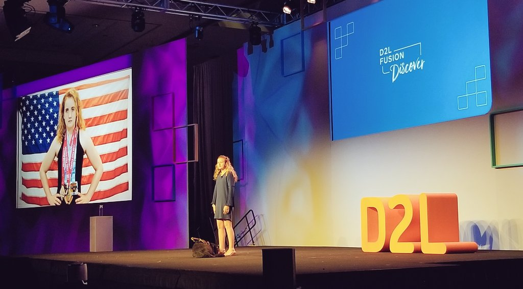 Paralympic athlete McClain Hermes sharing her inspirational story of losing her sight, winning dozens of world medals in swimming, and how online learning enabled her to graduate AND pursue her dream.  #D2LFusion<br>http://pic.twitter.com/AJtT31hQ2l