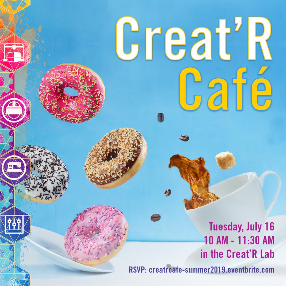 #JoinUs Tues., July 16 in the #CreatRLab for Creat'R Cafe, a campus meetup for #UCRiverside student #innovators & aspiring #entrepreneurs to discuss ideas with like-minded peers & #mentors, and learn about #prototyping. Space is limited, please RSVP: http://creatrcafe-summer2019.eventbrite.com