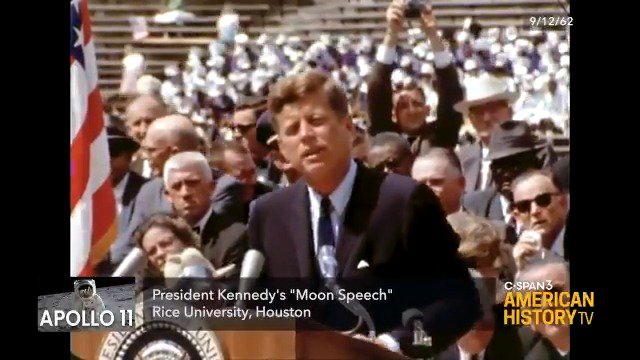 """""""We must be bold...it will be done, and it will be done before the end of this decade."""" In 1962, President John F. Kennedy challenged America to land on the moon. #Apollo11 Watch more of this speech Saturday at 10am ET on C-SPAN 3."""