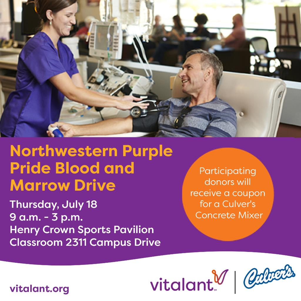 The next Purple Pride Blood Drive is this Thursday at Henry Crown. Donate to receive a coupon for a FREE @culvers Concrete Mixer or $10 @Visa Gift Card! 📝 Appointments: bit.ly/2lzWzEM - enter code 184D #B1GCats