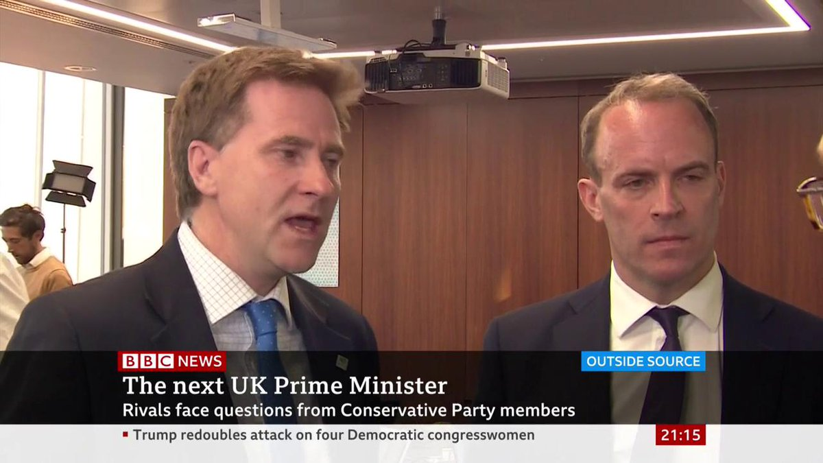 Jeremy Hunt backer Steve Brine & Boris Johnson supporter Dominic Raab reflect on how the Tory leadership candidates dealt with questions on Donald Trumps go back tweets during final head-to-head debate bbc.in/32pT4S9 #FinalShowdown