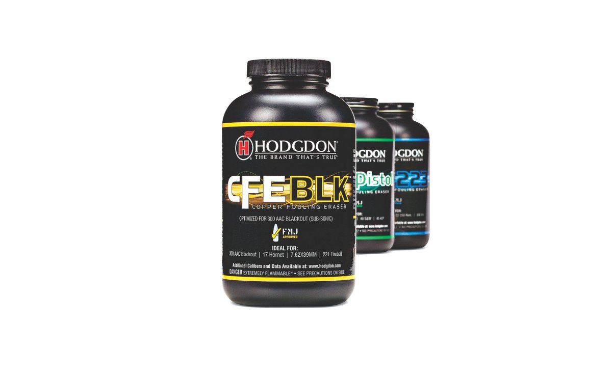 The #HodgdonPowder CFE BLK powder - a Copper Fouling Eraser propellant - is perfect for 17 Hornet, 17 Ackley Hornet, 17 Fireball, 218 Bee and 221 Fireball handholds. See more at http://bit.ly/2XKWmkk. #Firearms #Reloading #Ammo
