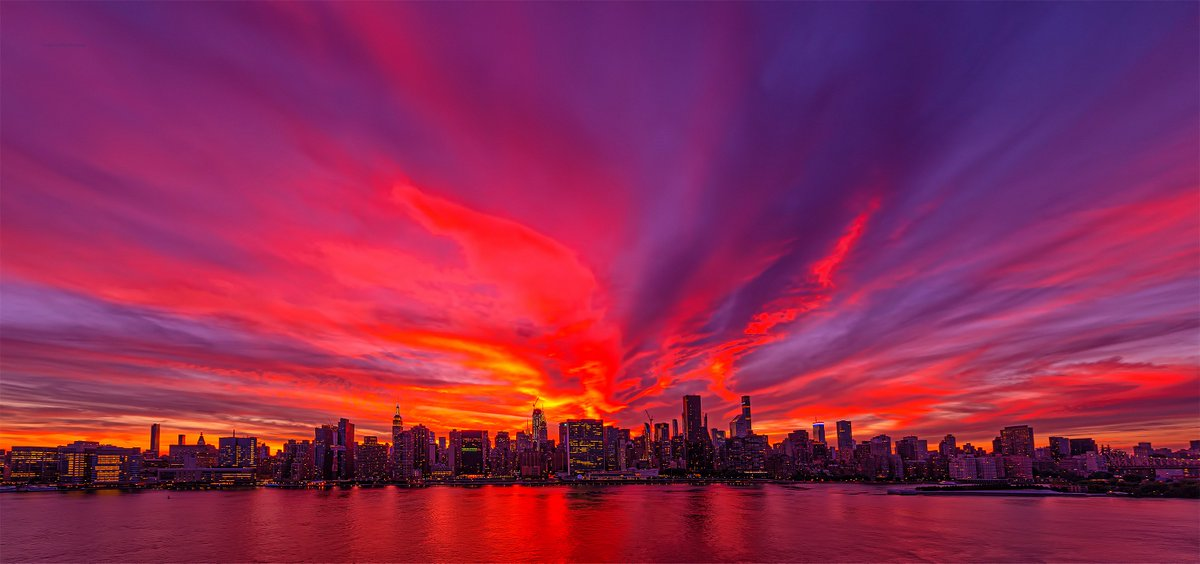 Sweeping sunset skies afire tonight in #NYC.
