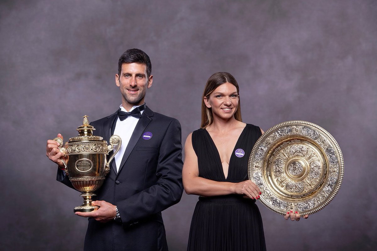 Novak Djokovic & Simona Halep Celebrate Wimbledon Win🏆🎾  #tennis #uk #tennisfamily #watchingwimbledon #summeroftennis #lovetennis #tennisfuture #lovewatchingtennis #wimbledon2019 #game #summer #followus #novakdjokovic #novakdjoković #simonahalep #simonahalepfans