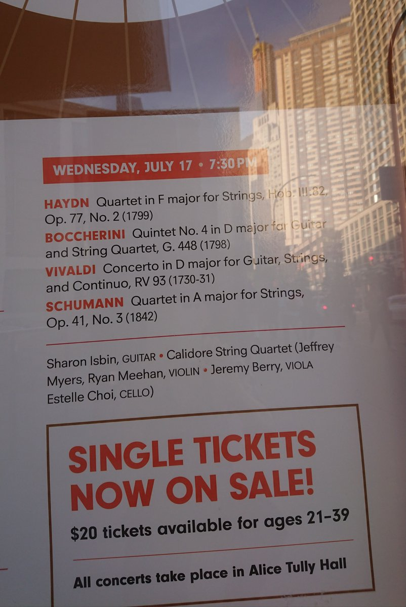 Join me Wed July 17 @LincolnCenter #NYC w/ the fab @CalidoreSQ in a dynamite show w/ #Vivaldi #guitar concerto & Boccherini's famous Fandango! Alice Tully Hall, 7:30pm. Tix @chambermusic: https://www.chambermusicsociety.org/nyc/events/upcoming/summer-evenings-iii-july-17-2019/…