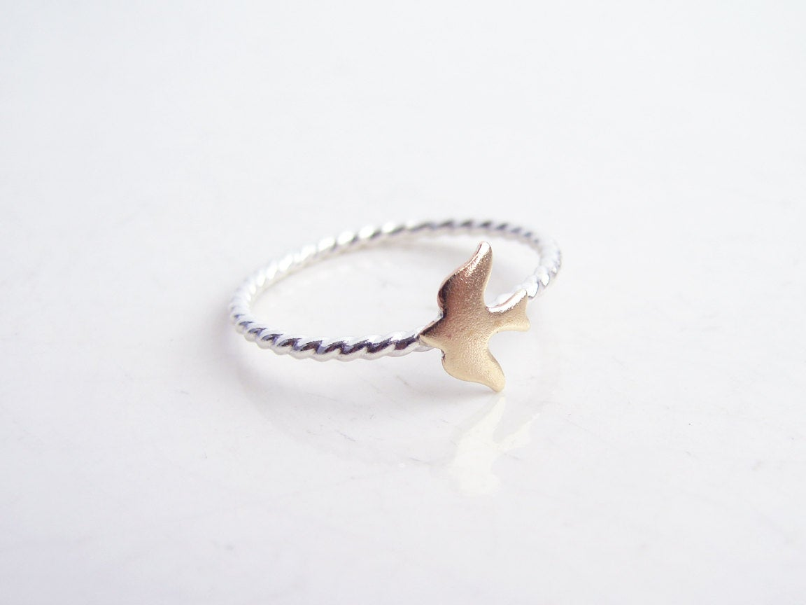 Tiny Seagull Ring. Stacking Nautical Ring. Sea, Ship and Sky. Made to order. Simple Modern Everyday Jewelry http://tuppu.net/56c92898 #GiftforHer #GiftIdea #FreeShipping #HandmadeRings #Etsy #Jewelry #BirthdayGift #DaintyJewelry #OpalRing #FishRing