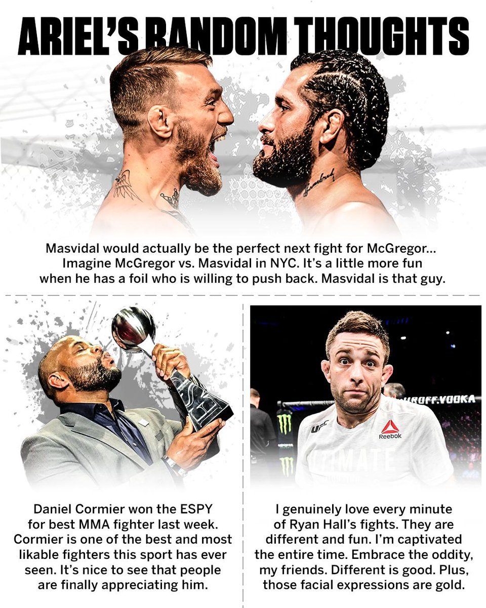 McGregor-Masvidal for the money, more hardware for DC, and... 🤷♂️  All 20 of @arielhelwani's thoughts 👉 http://es.pn/HelwaniJuly15