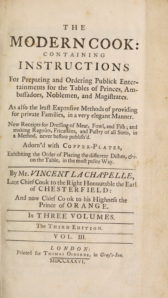 Historical Cooking Books: The modern cook by Vincent La Chapelle (1736) – 31 in a series  http://welchwrite.com/blog/2019/07/15/historical-cooking-books-the-modern-cook-by-vincent-la-chapelle-1736-31-in-a-series/ …  #history #books #food #drink #drinks #cook #cooking #recipes #history   @internetarchive
