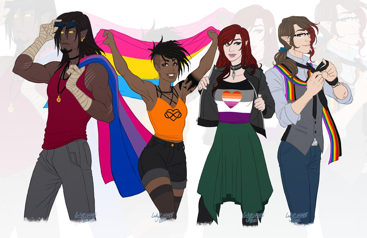 Happy #Pride2019 from Trapper, Jay, Mili and Eoghan! And me, their aro-ace artist 🥰