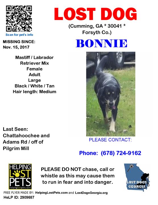 **FACEBOOK LINK: https://ift.tt/2XHSP6c ** #LOSTDOG #Bonnie #Cumming (Chattahoochee & Adams Rd / off of Pilgrim Mill)  #GA 30041 #Forsyth Co. , #Lost #Dog 11-15-2017!, Female #Mastiff / Labrador Retriever Mix Black / White / Tan  CONTACT Phone: (678) 724-9162  More Info, Photo…