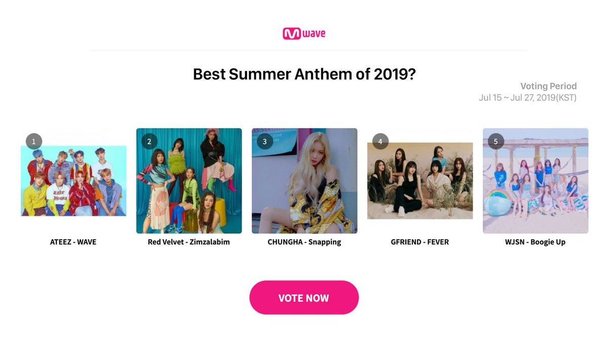 [#Vote] Best Summer Anthem of 2019? 🌴☀️ #ATEEZ (@ATEEZofficial) - WAVE | #RedVelvet (@RVsmtown) - Zimzalabim | #CHUNGHA (@CHUNGHA_MNHent) - Snapping | #GFRIEND (@GFRDofficial) - FEVER | #WJSN (@WJSN_Cosmic) - Boogie Up ▶️ Vote Here mwave.me/en/vote/kpop-p…