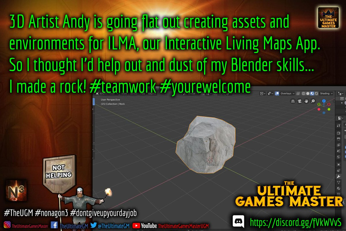 I've decided to help #3D Artist Andy create assets for #ILMA.. I made a rock! #teamwork #yourewelcome  #Discord - http://bit.ly/2GVItme #UGM #TheUGM #nonagon3 #dnd #dungeonsanddragons #pathfinder #indiedev #RPG #Roleplay #tabletop #ttrpg http://bit.ly/2FqZV1W