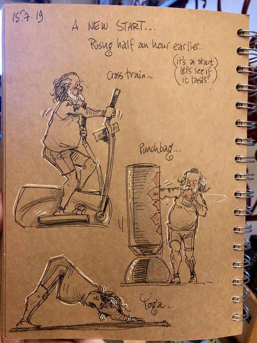 Ok. It was only 30 minutes in total and pretty lightweight but it's a beginning. Hoping it becomes a daily routine and that the time will extend as I go along. I can do this - or fail VERY publicly! #doodleaday #widowerlife #fitnessjourney <br>http://pic.twitter.com/mftHaIB1DL