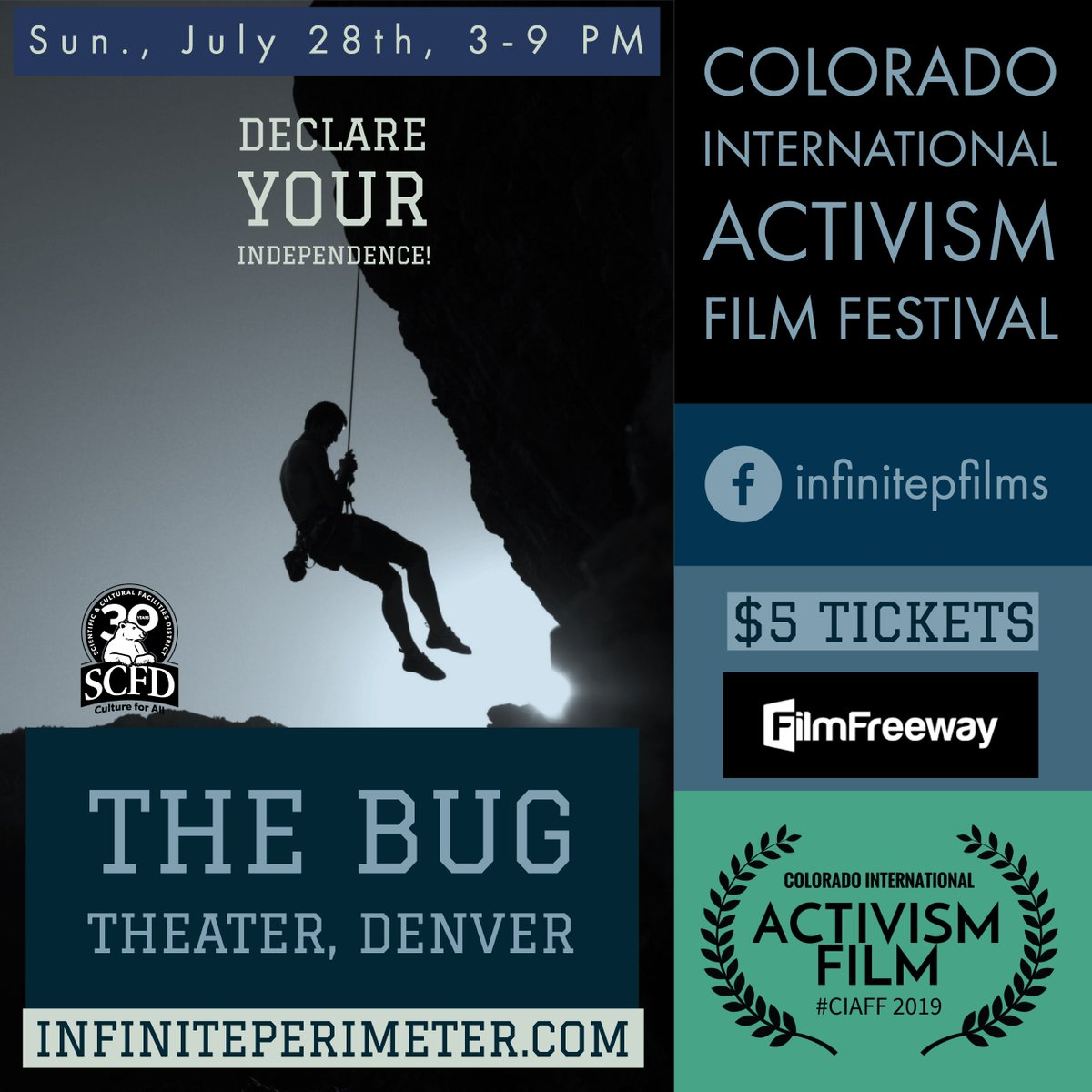 We want you to declare your independence! C'mon out to the Colorado Intl. Activism Film Festival #CIAFF2019 we've got some great #film #musicvideo #screenplay #activism Get tickets for $5 at FilmFreeway #filmfreeay #musicians4freedom #infiniteperimeterfilms #infinitepfilms