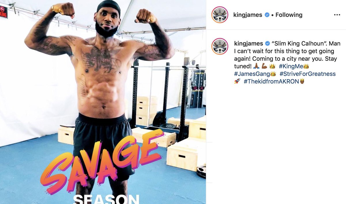 Looks like Bron is ready for next season 💪 (via @KingJames)