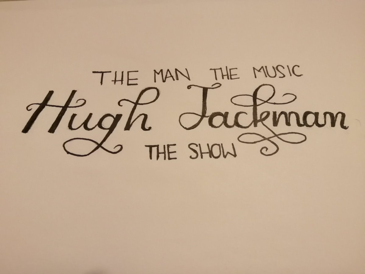 #justforfun I know the angle is off but I did free hand it 🤷‍♀️ #hughjackman #hj #TheManTheMusicTheShow #tmtmts #freehand #calligraphy