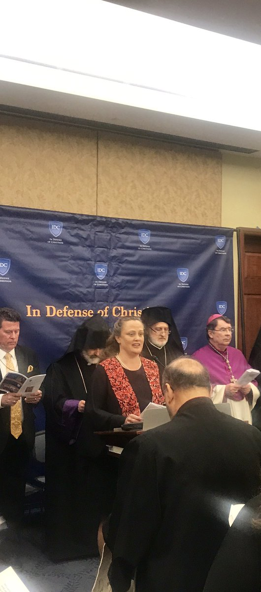 CMEP ED @MaeEliseCannon leads a prayer at the IDC Congressional Prayer Service for persecuted religious minorities in the #MiddleEast #IRFMinisterial<br>http://pic.twitter.com/90uHkiSxu3