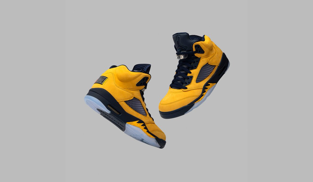 goat on twitter university of michigan drapes yellow and navy school colors on the air jordan 5 retro. available on the app and t.co fzoxw7rwgu t.co q
