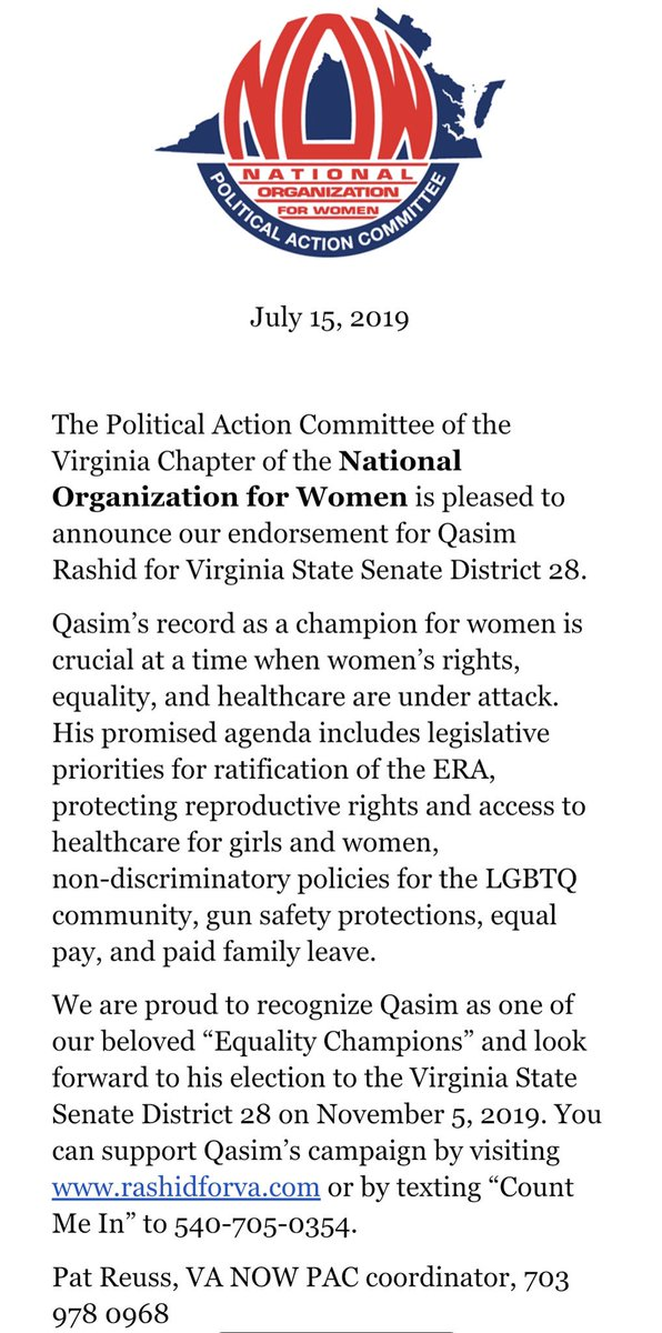 Awesome news! The Virginia chapter of the National Organization for Women has endorsed our #RashidForVA campaign for VA Senate District 28! See the release below & donate to help us champion women's rights✊🏽❤️ secure.actblue.com/donate/rashidf… #WomensRightsAreHumanRights