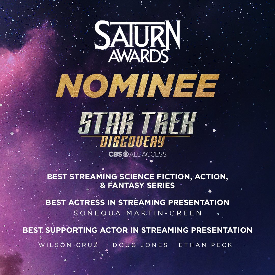 Congratulations to all of the cast and crew of #StarTrekDiscovery for your 5 #SaturnAward nominations!