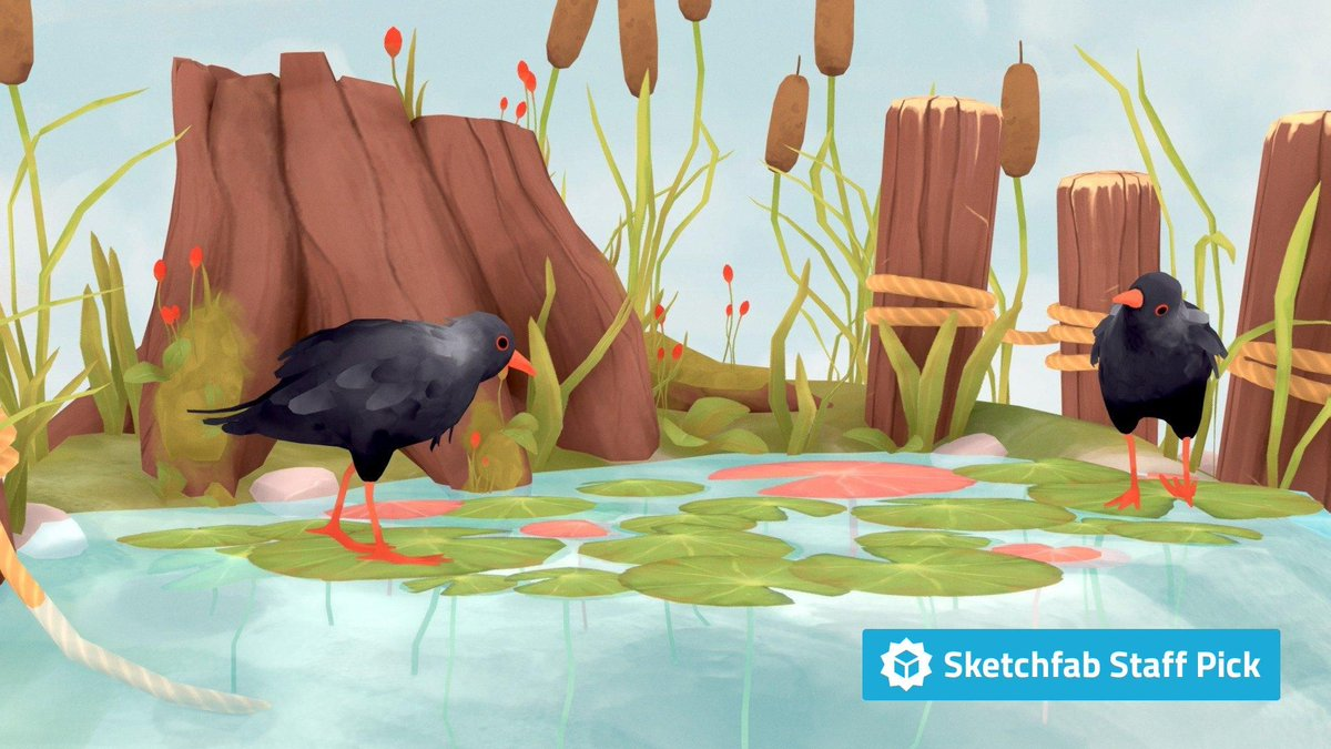 New staff pick: Pond by @peachyroyalty1. Check it out in #3D, #AR or #VR: bit.ly/2LhLXWO #b3d